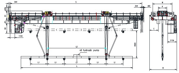 PQD Overhead Crane Single Girder Overhead Cranes for PC Pile Factory