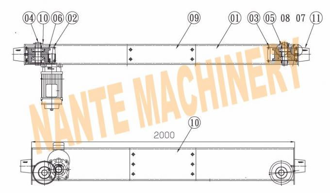 overhead and gantry crane open gear end carriage / crane components light  duty