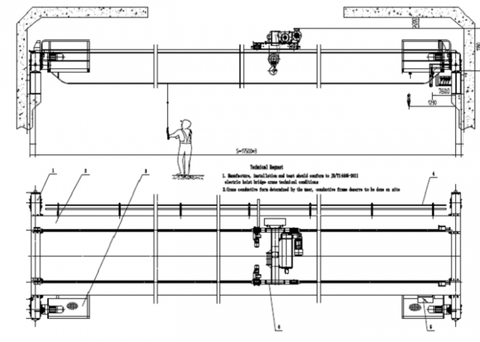 20 T 22m 12m Double Girder Overhead Cranes Compact Design And Optimal Space Utilization