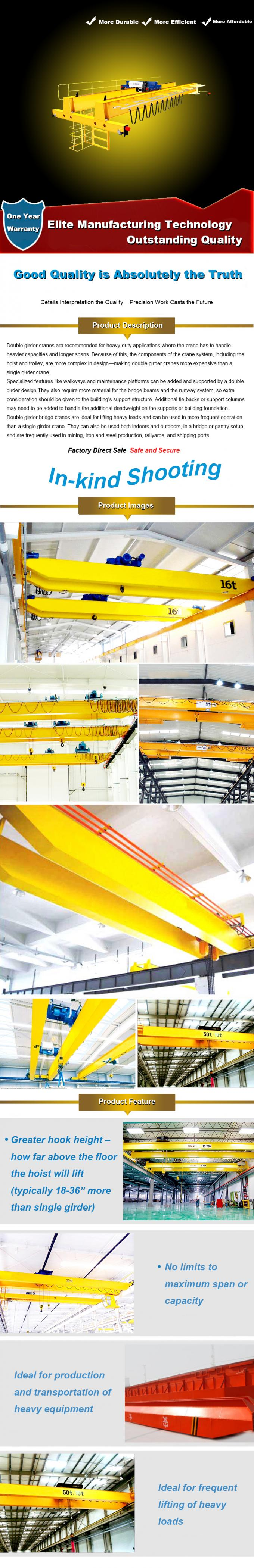 Long Life Double Girder Overhead Cranes , Electric Overhead Travelling Crane 0