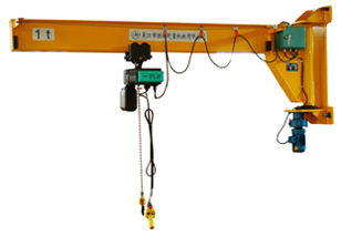 China Wall Mounted Jib Cranes Capacity 1 ton with 360-degree Rotation in Yellow ASTM Specification factory
